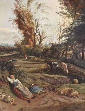Famous paintings of Landscapes: Pasture with two sleeping pastoras