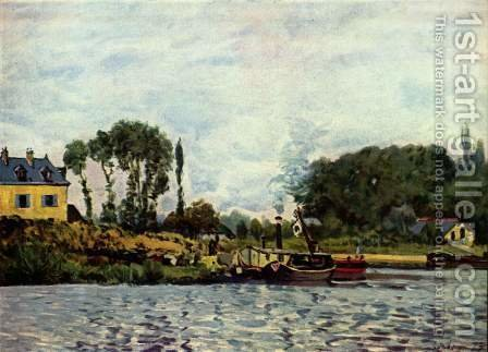 Boote bei Bougival by Alfred Sisley - Reproduction Oil Painting
