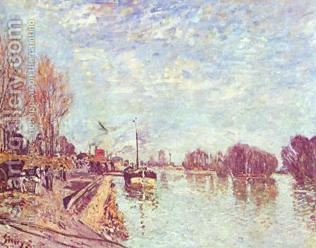 The Seine at Suresne by Alfred Sisley - Reproduction Oil Painting