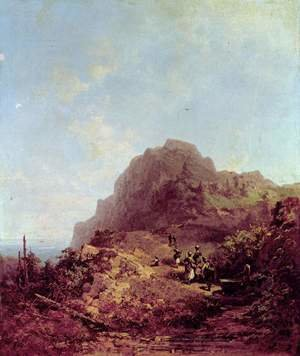 Famous paintings of Landscapes: Mountain Hike (Trip to Herzogstand)