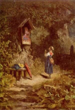 Famous paintings of Landscapes: Praying peasant girl in the woods