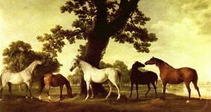 Famous paintings of Domestic Animals: Horses in a Landscape