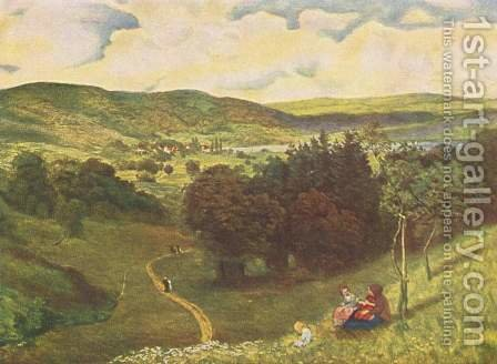Open valley landscape by Hans Thoma - Reproduction Oil Painting