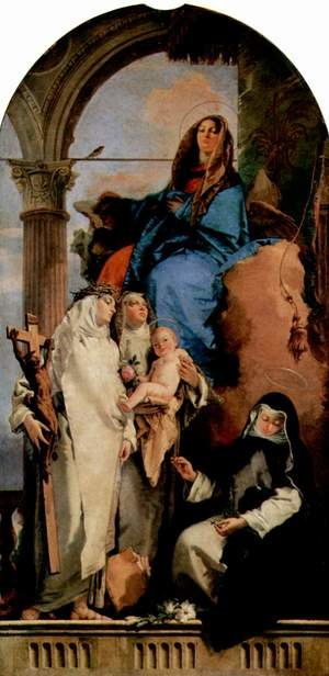 Reproduction oil paintings - Giovanni Battista Tiepolo - Madonna with St. Catherine, St. Rose, who hold the child and the squatting St. Agnes