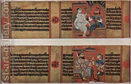 Indian School: Kalpa Sutra and Kalak Acharya Katha manuscript, and the scene above Kalaka Saka king, scene below Balamitra and wife - reproduction oil painting