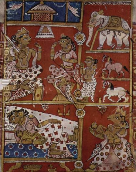 Indian School: Kalpa Sutra manuscript, the scene of the embryo transfer - reproduction oil painting
