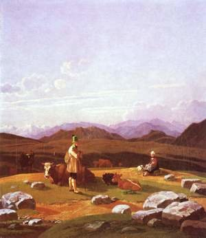 Reproduction oil paintings - Wilhelm Von Kobell - Hunter on the mountain pasture