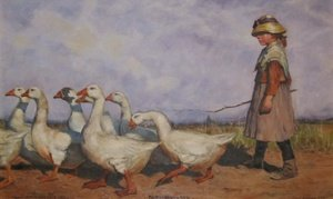 Realism painting reproductions: To Pastures New or 'The Goose Girl'