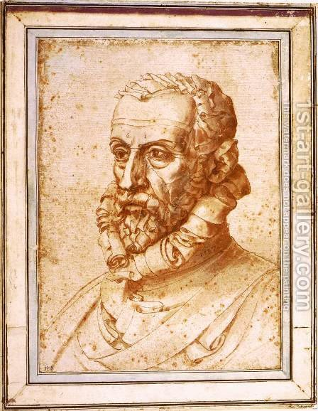 Self-Portrait on Paper by Giuseppe Arcimboldo - Reproduction Oil Painting