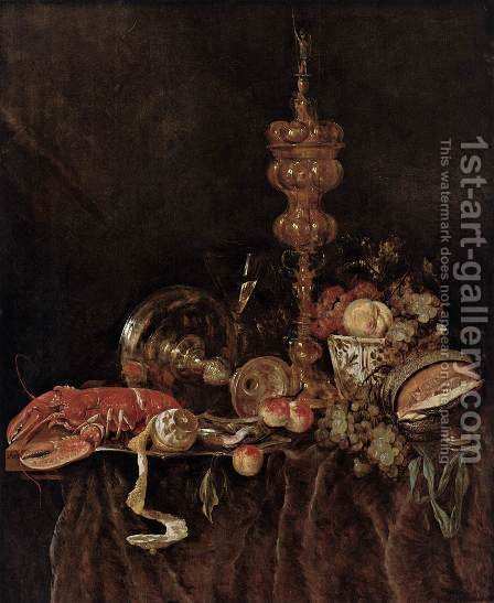 Still-Life with Lobster and Fruit by Abraham Hendrickz Van Beyeren - Reproduction Oil Painting