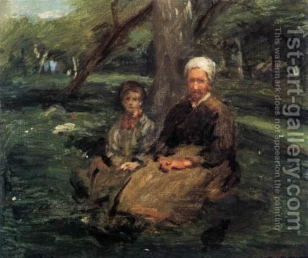 Woman and Child in the Orchard by Adolphe-Felix Cals - Reproduction Oil Painting