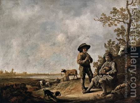 Piping Shepherds by Aelbert Cuyp - Reproduction Oil Painting