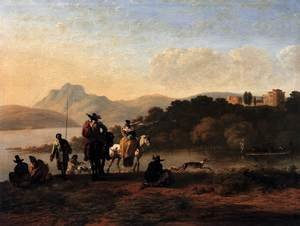 Italian Landscape with Elegant Riders and Fishermen