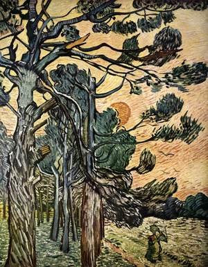 Famous paintings of Trees: Fir-woods at Sunset