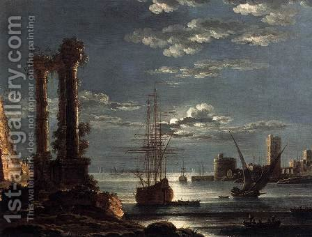 Mediterranean Port in Moonlight by Alessandro Grevenbroeck - Reproduction Oil Painting
