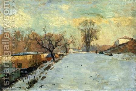 Road on the Banks of the Seine at Neuilly inn Winter by Albert Lebourg - Reproduction Oil Painting
