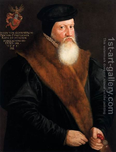 Portrait of Doctor Johann von Schwabbach by Hans Muelich or Mielich - Reproduction Oil Painting