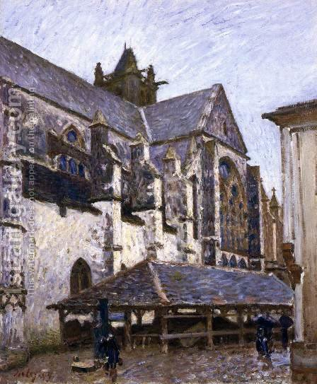 The Old Church at Moret in Rain, Seen from the Transept by Alfred Sisley - Reproduction Oil Painting