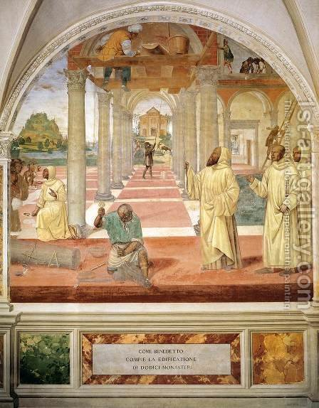 Life of St Benedict, Scene 11 Benedict Founds Twelve Monasteries by Il Sodoma (Giovanni Antonio Bazzi) - Reproduction Oil Painting