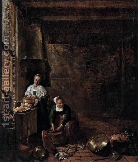 A Kitchen by Hendrick Maertensz. Sorch (see Sorgh) - Reproduction Oil Painting