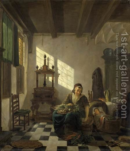 The Housewife by Abraham van, I Strij - Reproduction Oil Painting