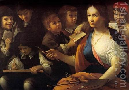 The School of Painting by Giovanni Maria Viani - Reproduction Oil Painting