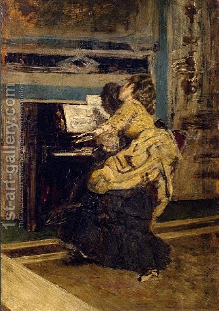 Gentleman at the piano by Giovanni Boldini - Reproduction Oil Painting