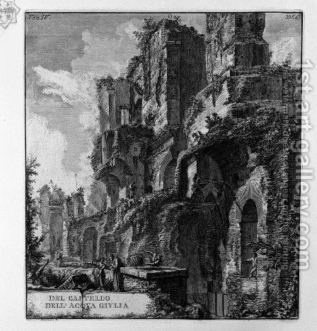 Perspective of the rear by Giovanni Battista Piranesi - Reproduction Oil Painting