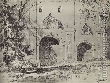 Entrance gate of Savvinsky monastery near Zvenigorod by Isaak Ilyich Levitan - Reproduction Oil Painting