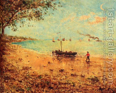 A Beach In Normandy by Alfred Stevens - Reproduction Oil Painting