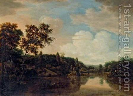 Ferry Boat on a River, Trees on a Hill to the Left by Hendrick Cornelisz. Vroom - Reproduction Oil Painting
