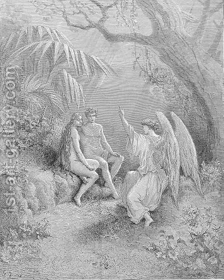 To whom the winged Hierarch replied  O Adam, one Almighty is, from whom All things proceed by Gustave Dore - Reproduction Oil Painting