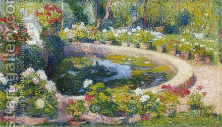Fountain in the Center of the Park by Henri Martin - Reproduction Oil Painting