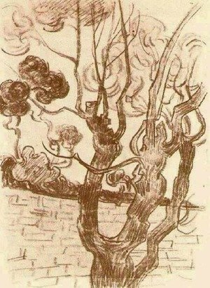 Famous paintings of Trees: Treetop Seen against the Wall of the Asylum