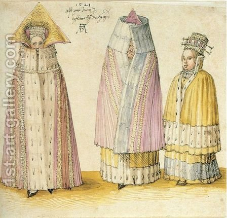 Three Mighty Ladies from Livonia by Albrecht Durer - Reproduction Oil Painting