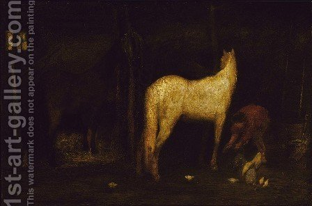 In the Stable by Albert Pinkham Ryder - Reproduction Oil Painting