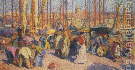 The Port of Marseilles by Henri Martin - Reproduction Oil Painting