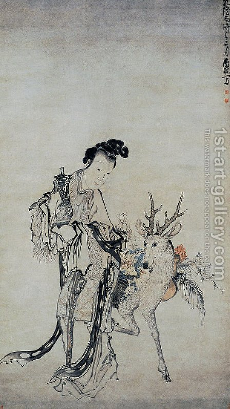 Ma-gu Holding a Vase, with a Deer by Huang Shen - Reproduction Oil Painting