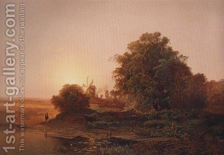 Summer landscape with windmills by Alexei Kondratyevich Savrasov - Reproduction Oil Painting