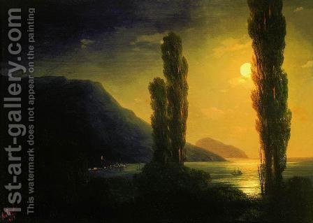 Moonlit night near Yalta by Ivan Konstantinovich Aivazovsky - Reproduction Oil Painting