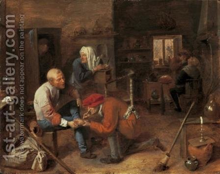 Village barbershop by Adriaen Brouwer - Reproduction Oil Painting