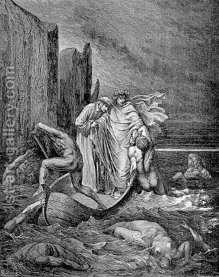 The Styx--Philippo Argenti by Gustave Dore - Reproduction Oil Painting