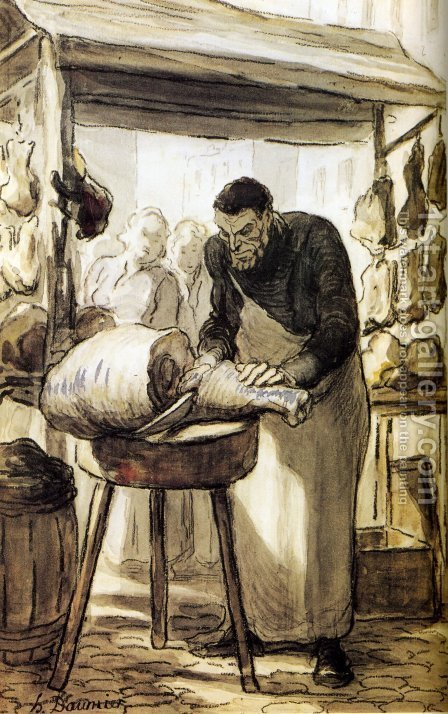 The Butcher by Honoré Daumier - Reproduction Oil Painting