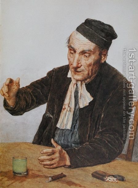 The Absinth Drinker by Albert Anker - Reproduction Oil Painting