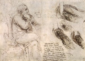 Reproduction oil paintings - Leonardo Da Vinci - A seated man, and studies and notes on the movement of water