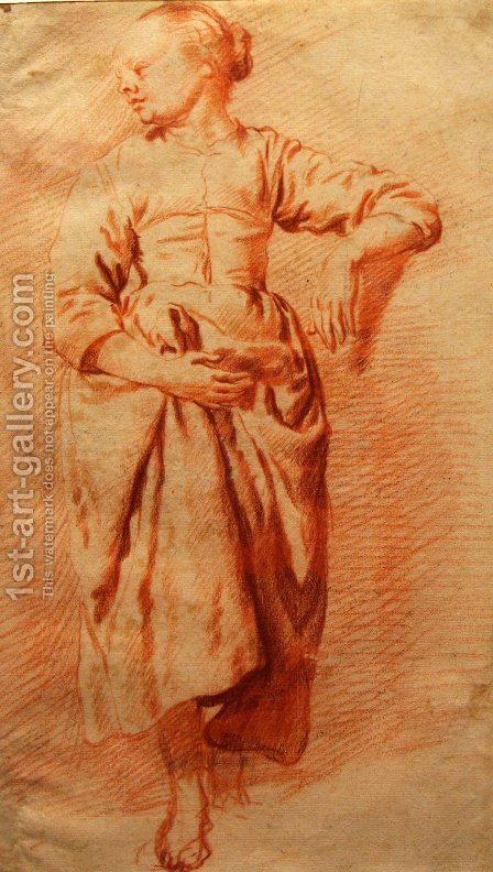 Study of a Woman in Peasant Dress by Adriaen Van De Velde - Reproduction Oil Painting