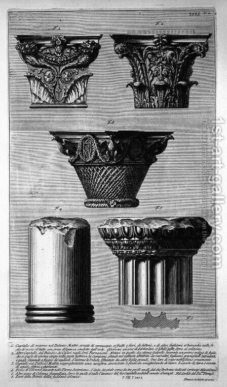 Pieces of columns and capitals by Giovanni Battista Piranesi - Reproduction Oil Painting