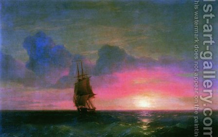 Sunset. A lone sailboat by Ivan Konstantinovich Aivazovsky - Reproduction Oil Painting