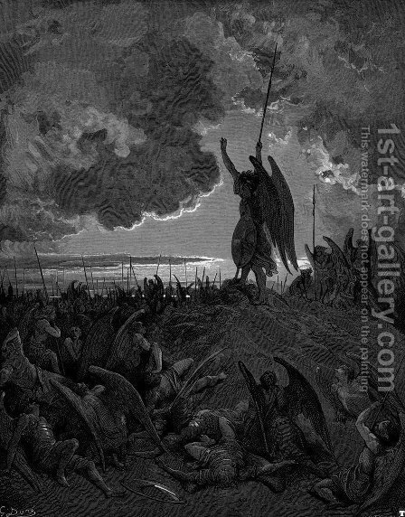 They heard, and were abashed, and up they sprung by Gustave Dore - Reproduction Oil Painting
