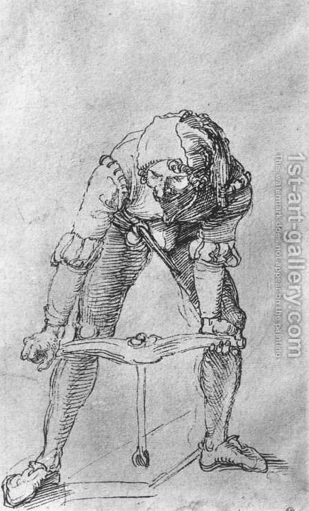 Study of a man with a Drill by Albrecht Durer - Reproduction Oil Painting